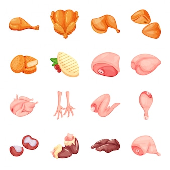 Chicken meat cartoon icon set
