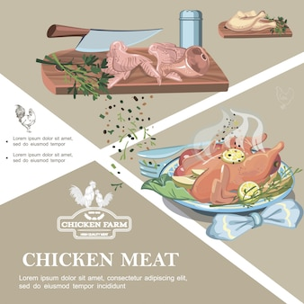 Chicken meat colorful template with raw legs wings ham knife spices salt shaker on cutting board and roasted chicken meal