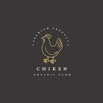 Chicken meat products logo template