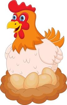 Chicken in nest with egg cartoon