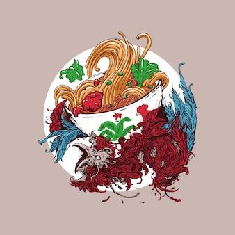 Chicken noodle illustration