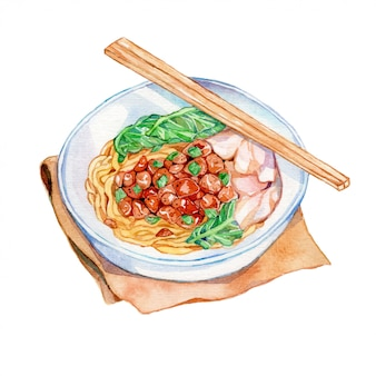 Chicken noodle watercolor illustratiom