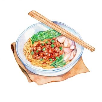 Chicken noodle watercolor illustratiom