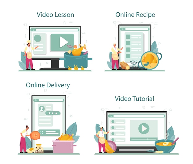 Chicken online service or platform set. tasty meal and ready dish.