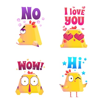 Chicken polygonal sticker set