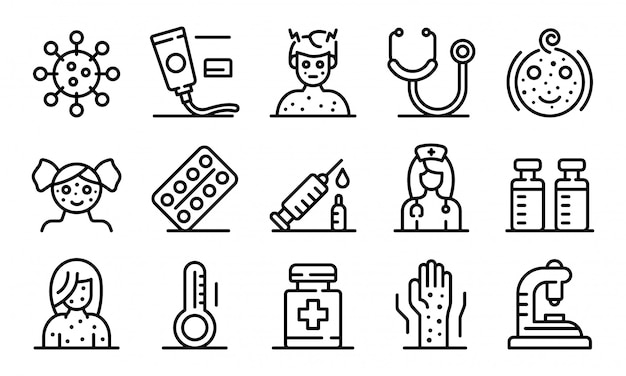 Chicken pox icons set