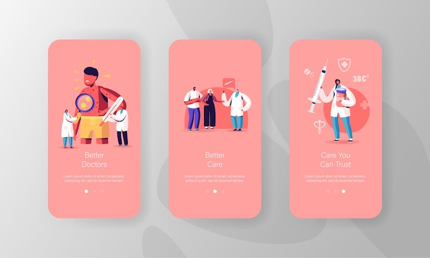 Шаблоны экрана страницы мобильного приложения ветряной оспы.
