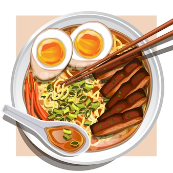 Chicken ramen with soft boiled eggs