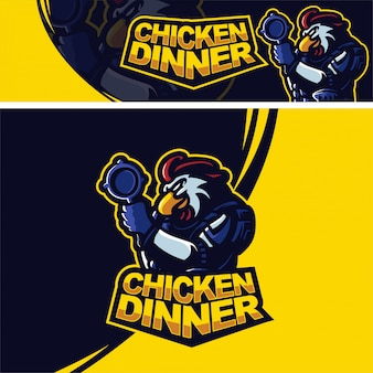 Chicken rooster with pan premium mascot logo