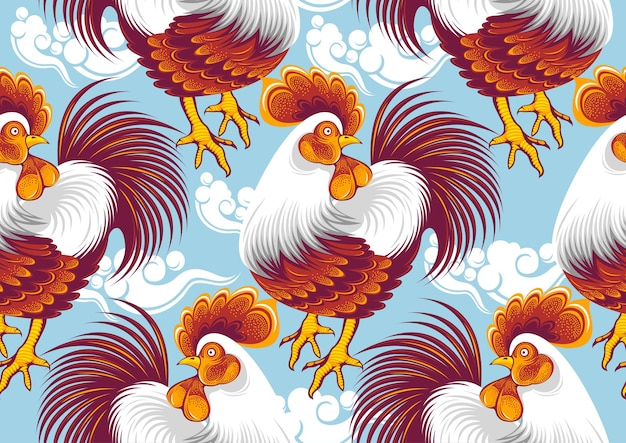 Chicken seamless pattern, line and point drawings and beautiful feathers, fashion