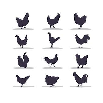 Курица силуэт векторные иллюстрации дизайн
