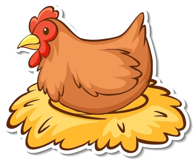 Adesivo pollo seduto sul fieno