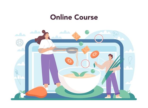 Chicken soup online service or platform. tasty meal ingredients