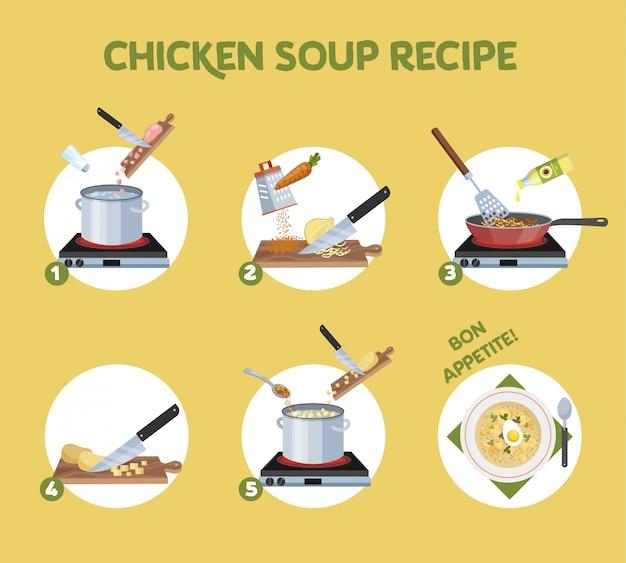 Рецепт куриного супа для приготовления в домашних условиях. ингредиенты для еды и готового блюда. лук и картофель, нарезка моркови. домашний ужин или обед. иллюстрация