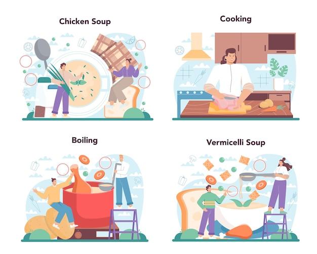 チキンスープセット。おいしい食事と調理済みの料理。鶏肉、玉ねぎ、じゃがいも、にんじんの具材。自家製のディナーまたはランチをお皿に盛り付けます。フラットイラスト
