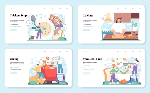 Chicken soup web banner or landing page set. tasty meal and ready dish. chicken meat, onion and potato, carrot ingredient. homemade dinner or lunch in the plate. flat illustration