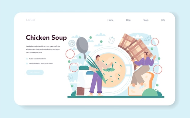 Chicken soup web banner or landing page. tasty meal and ready dish