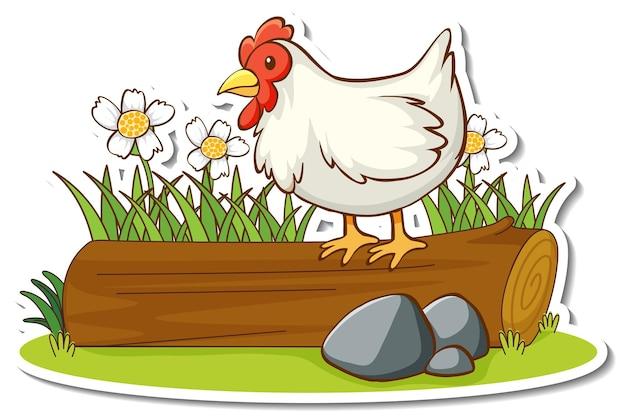 Pollo in piedi sul tronco con adesivo elemento natura