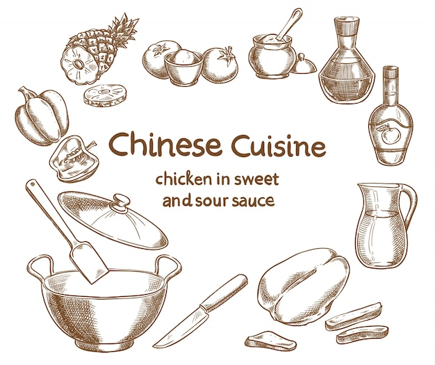 Chicken in sweet and sour sauce recipe design