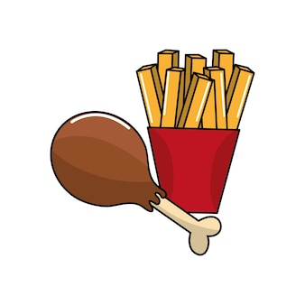 Chicken thigh and fries french icon