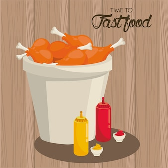 Куриные бедра горшок с соусом бутылки вкусный фастфуд иллюстрация