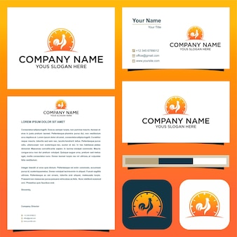 Chicken time logo and business card premium vector