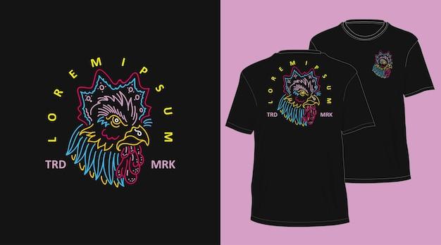 치킨 빈티지 monoline 손으로 그린 tshirt 디자인