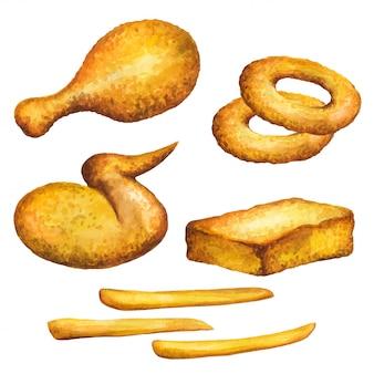 Акварель куриного крылышка. крася кольца лука и крыло цыпленка изолированные на белой предпосылке. aquarelle fastfood для меню ресторана. акварель курица иллюстрированная