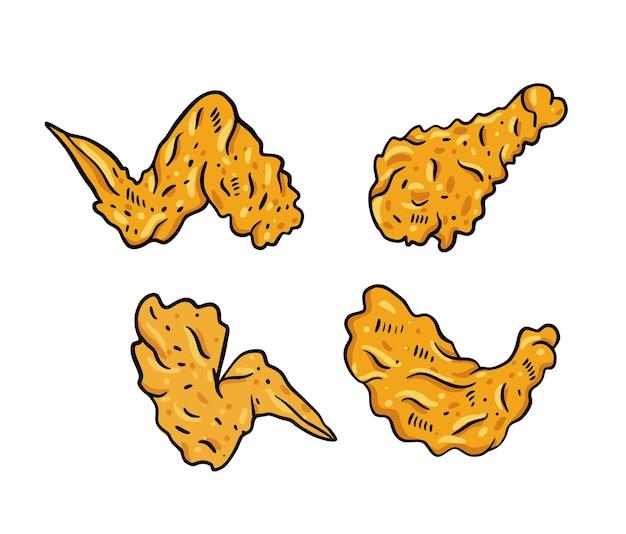 닭 날개. 손으로 그린 그림을 설정합니다. 흰색 배경에 고립.