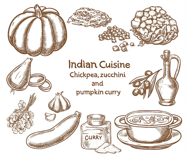 Chickpea,zucchini and pumpkin curry  ingredients