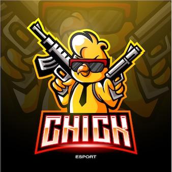 Логотип chicks esport для электронного логотипа спортивных игр.