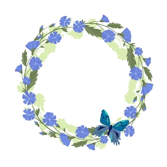 Chicory wreath and butterfly