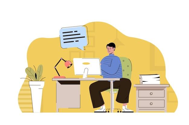 평평한 사람들이 있는 수석 사무원 웹 개념 그림