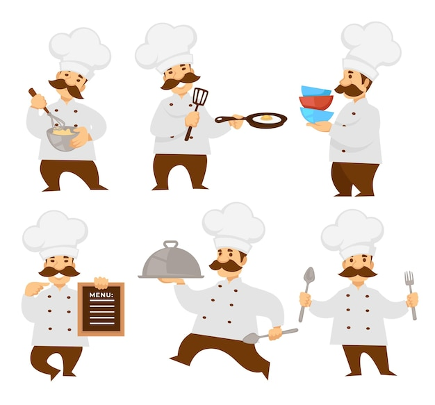 Chief or cook in uniform menu board and cooker pizza and dough