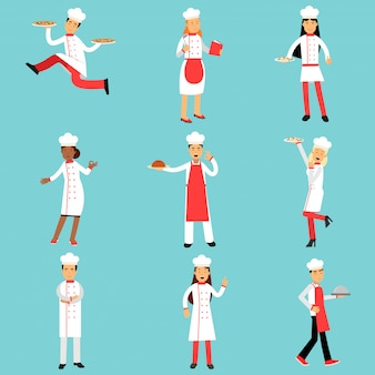 Chief cooks and bakers at work set. professional kitchen staff illustrations