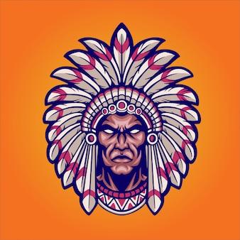The chief mascot illustration