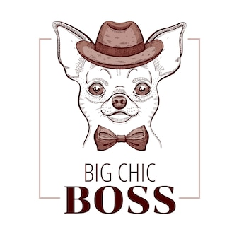 Chihuahua boss dog doodle t-shirt print design.