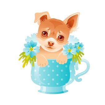 チワワ子犬。花のカップでかわいい犬。図。漫画の動物の顔を描きます。青い花で面白い美しいペット。