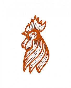 Chiken head line art logo template vector illustration