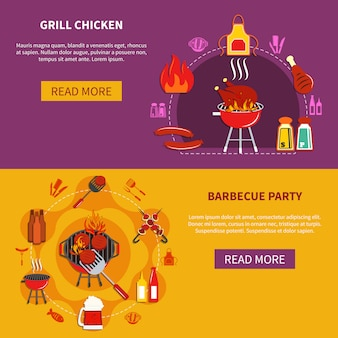 Гриль chiken on barbecue party flat