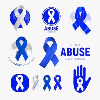 아동 학대 인식 아이콘 세트 블루 리본 컬렉션 가정 폭력 캠페인 기호 어린이