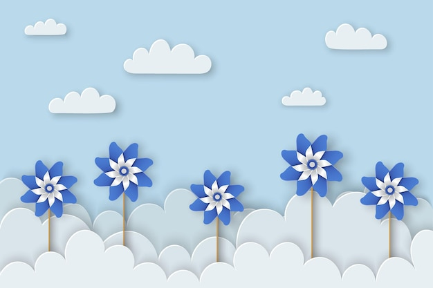 Child abuse prevention month of april child abuse awareness background poster with blue pinwheels
