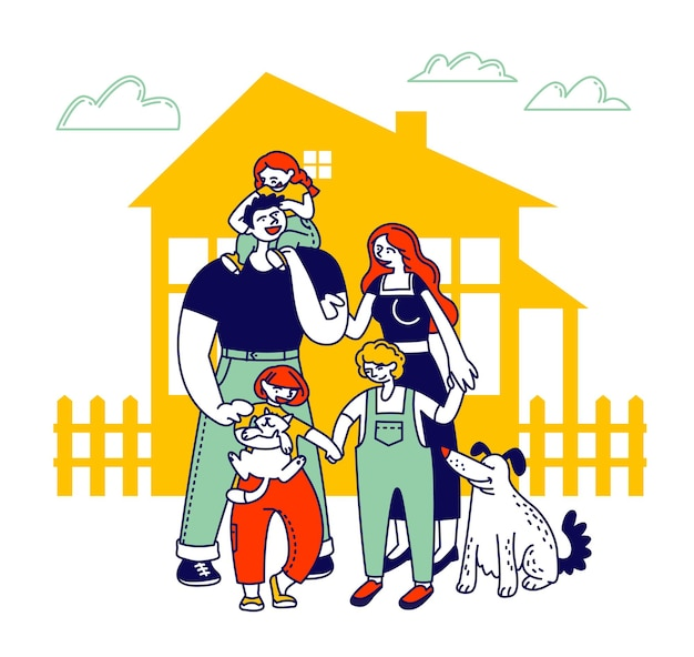 Child adoption concept. big happy family of parents, kids and dog stand at house front yard at summer time. cartoon flat illustration