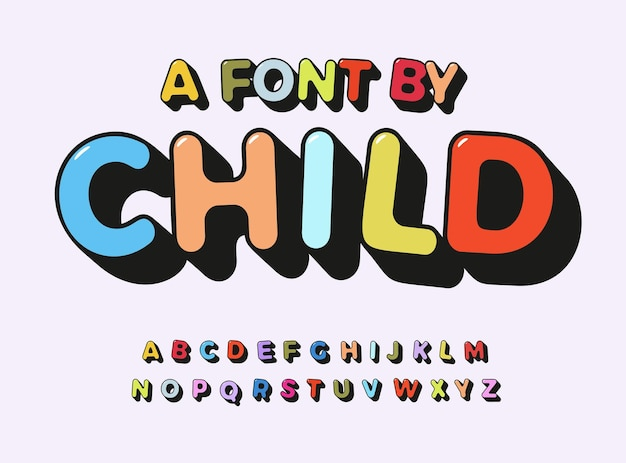 Child alphabet color abc playful font with contour for comic art type kids zone text toy logo