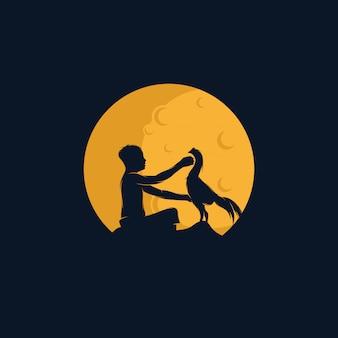 Шаблон логотипа «ребенок на луне» Premium векторы