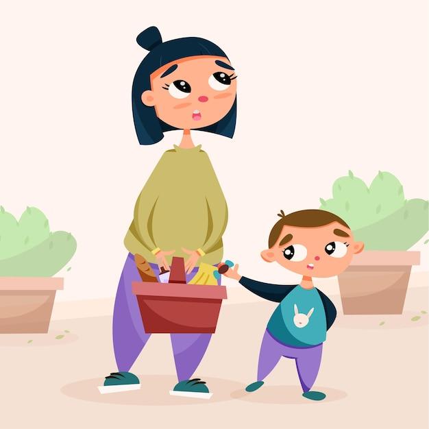 子供とお母さんがピクニックのために公園に来ました