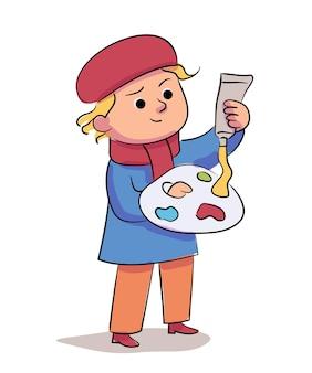그림자로 격리된 팔레트에 오일 페인트를 칠하는 어린이 예술가. 꼬마 소년은 나무 diy 키트에 있는 튜브에서 컬러 드롭을 짜냅니다. 드로잉 준비