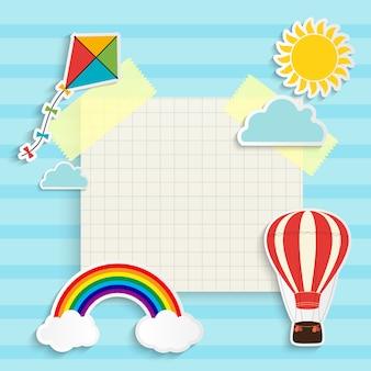 Детский фон с радугой, солнцем, облаком, воздушным змеем и воздушным шаром. место для текста. иллюстрация