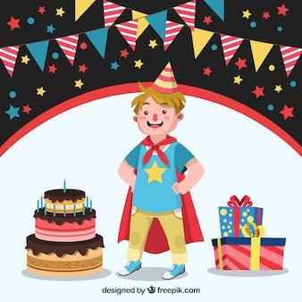 Sfondo del bambino con capo di supereroe e torta di compleanno