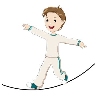 Child balancing on a rope